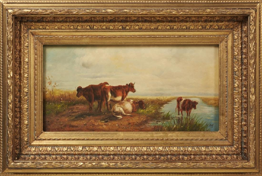 """G. Roy, """"Cows Watering,"""" and """"Cows Grazing,"""" 20th c., - 2"""