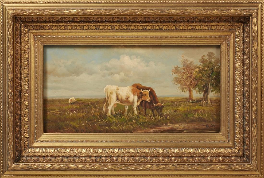 """G. Roy, """"Cows Watering,"""" and """"Cows Grazing,"""" 20th c., - 3"""