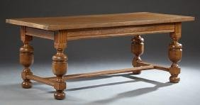 Jacobean Style Carved Quarter Sawn Oak Dining Table,