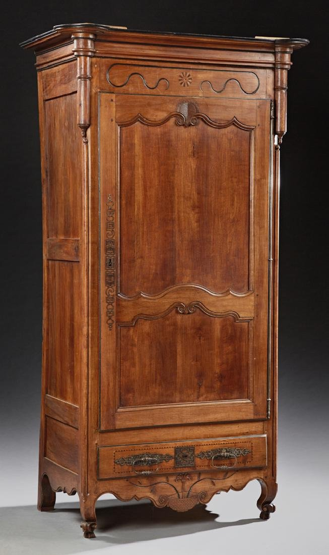 French Louis XV Style Carved Inlaid Cherry Bonnetiere,