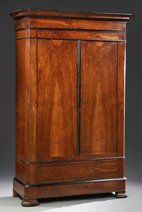 Large French Louis Philippe Carved Walnut Armoire, 19th
