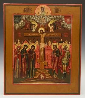 Russian Icon of the Crucifixion, 19th c., tempera and