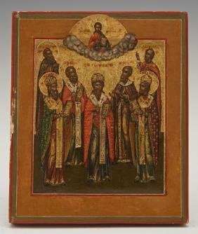 Diminutive Russian Icon of Seven Saints and Christ,