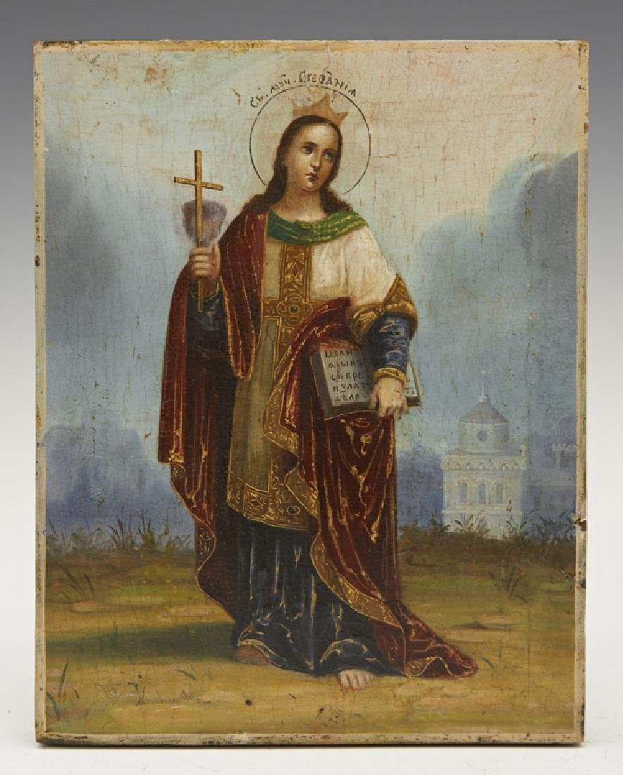 Russian Icon of St. Stefania, late 19th c., egg tempera