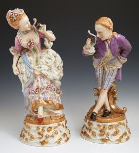 Pair of Meissen Style Porcelain Figures, 20th c., of a