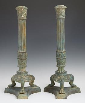 Pair of Patinated Bronze Empire Style Single