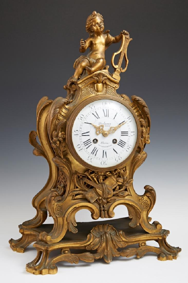 French Bronze Louis XVI Style Cartel Mantle Clock, 19th