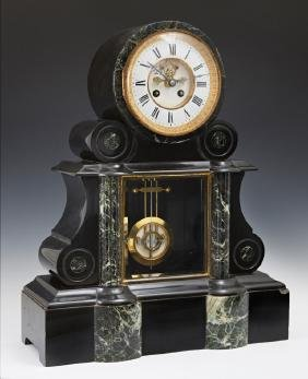 French Verde Antico and Black Marble Open Escapement