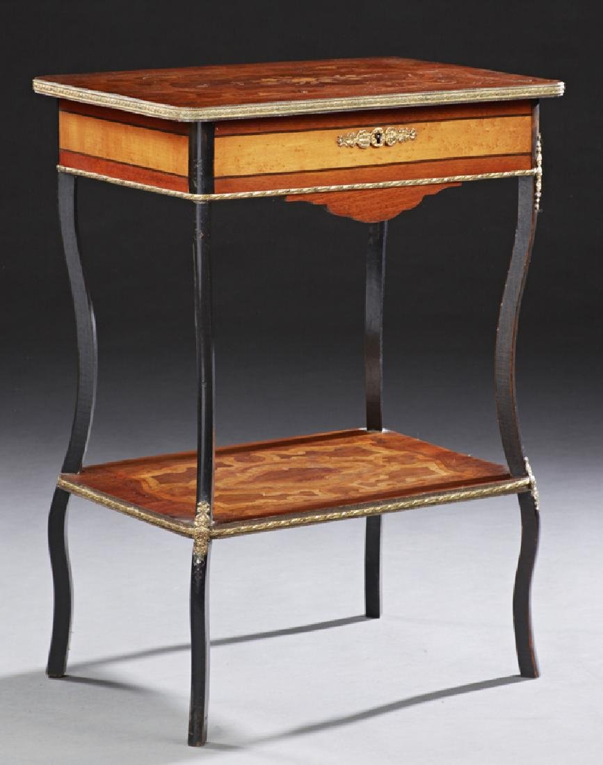 French Marquetry Inlaid Ormolu Mounted Work Table, c.
