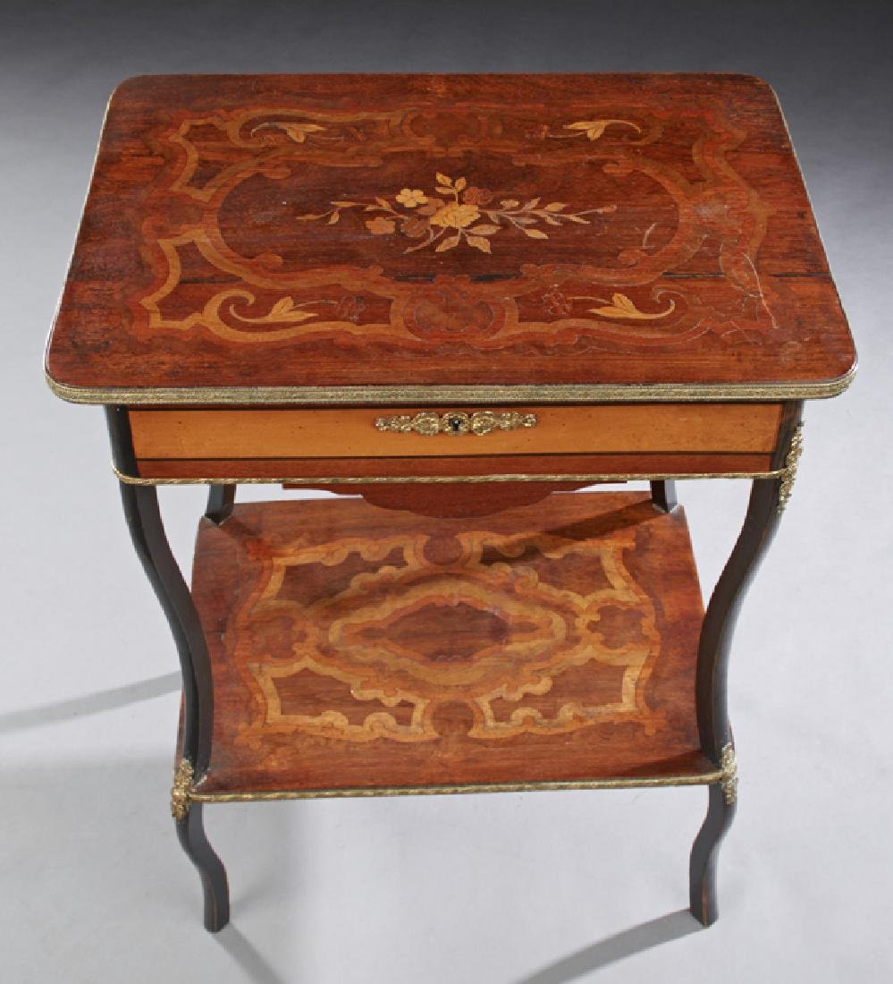 French Marquetry Inlaid Ormolu Mounted Work Table, c. - 3
