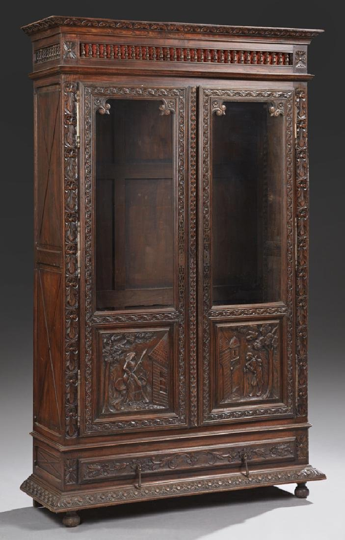 French Provincial Carved Oak Bookcase, 19th c.,