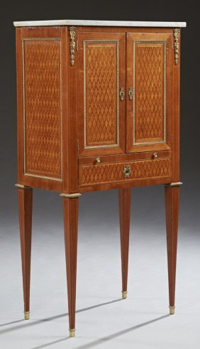 French Louis XV Style Marble Top Inlaid Mahogany Ormolu