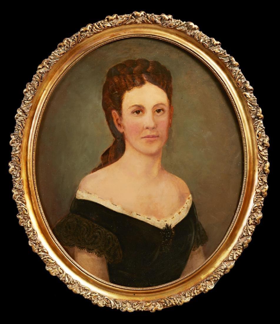"""American School, """"Portrait of a Lady in a Black Dress,"""""""