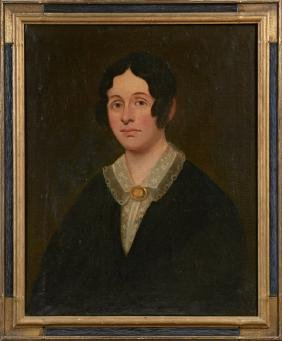 """American School, """"Portrait of a Woman with Ringlets and"""