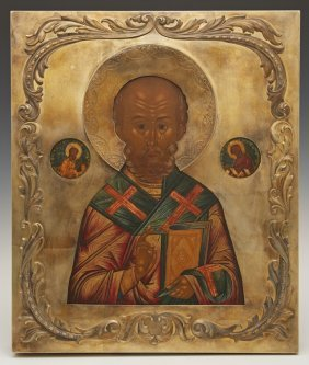 Russian Icon of Saint Nicholas, 19th c., with a gilt