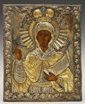 Russian Icon of Saint Paraskeva, 19th c., with a gilt