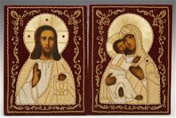 Pair of Russian Wedding Icons 20th c of Christ