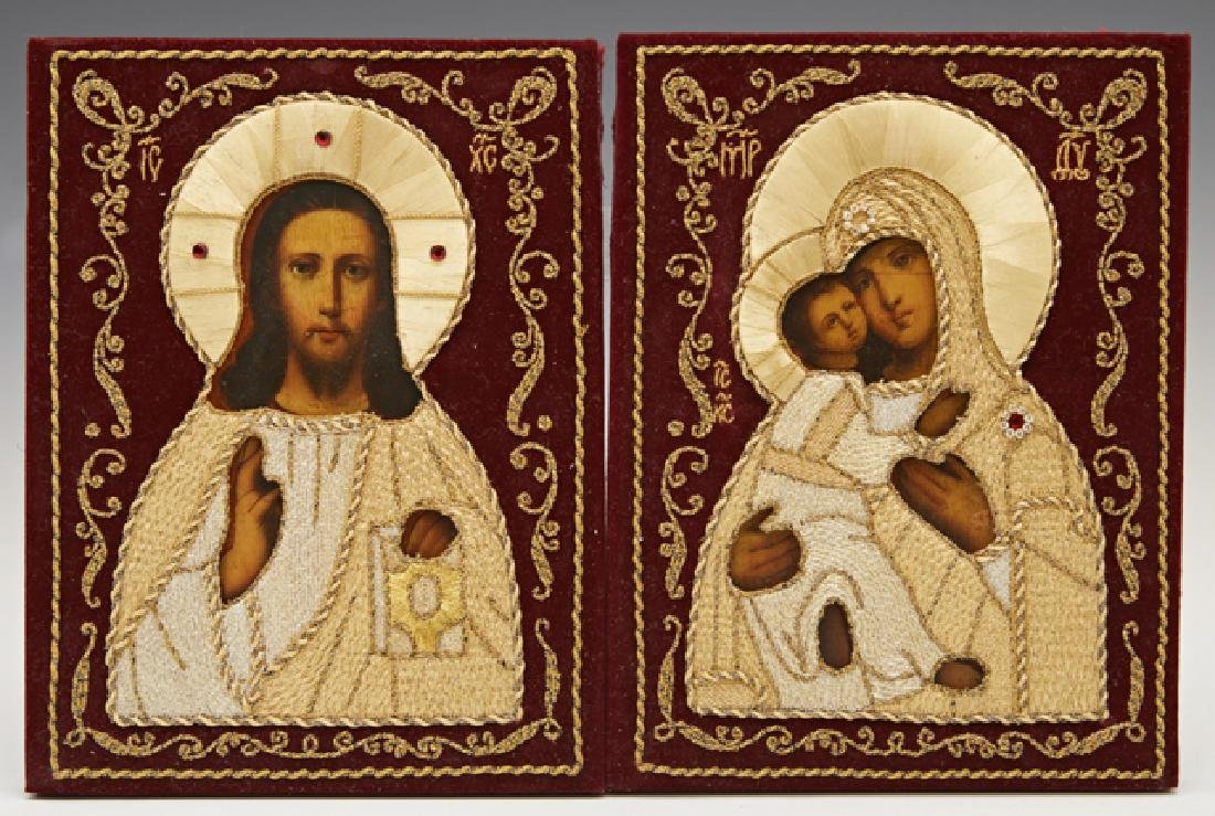 Pair of Russian Wedding Icons, 20th c., of Christ