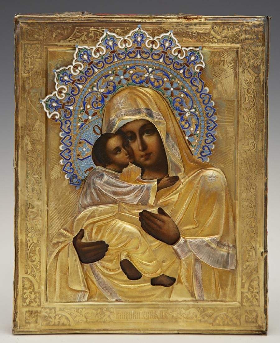 Russian Icon of the Virgin of Vladimir, 19th c., with