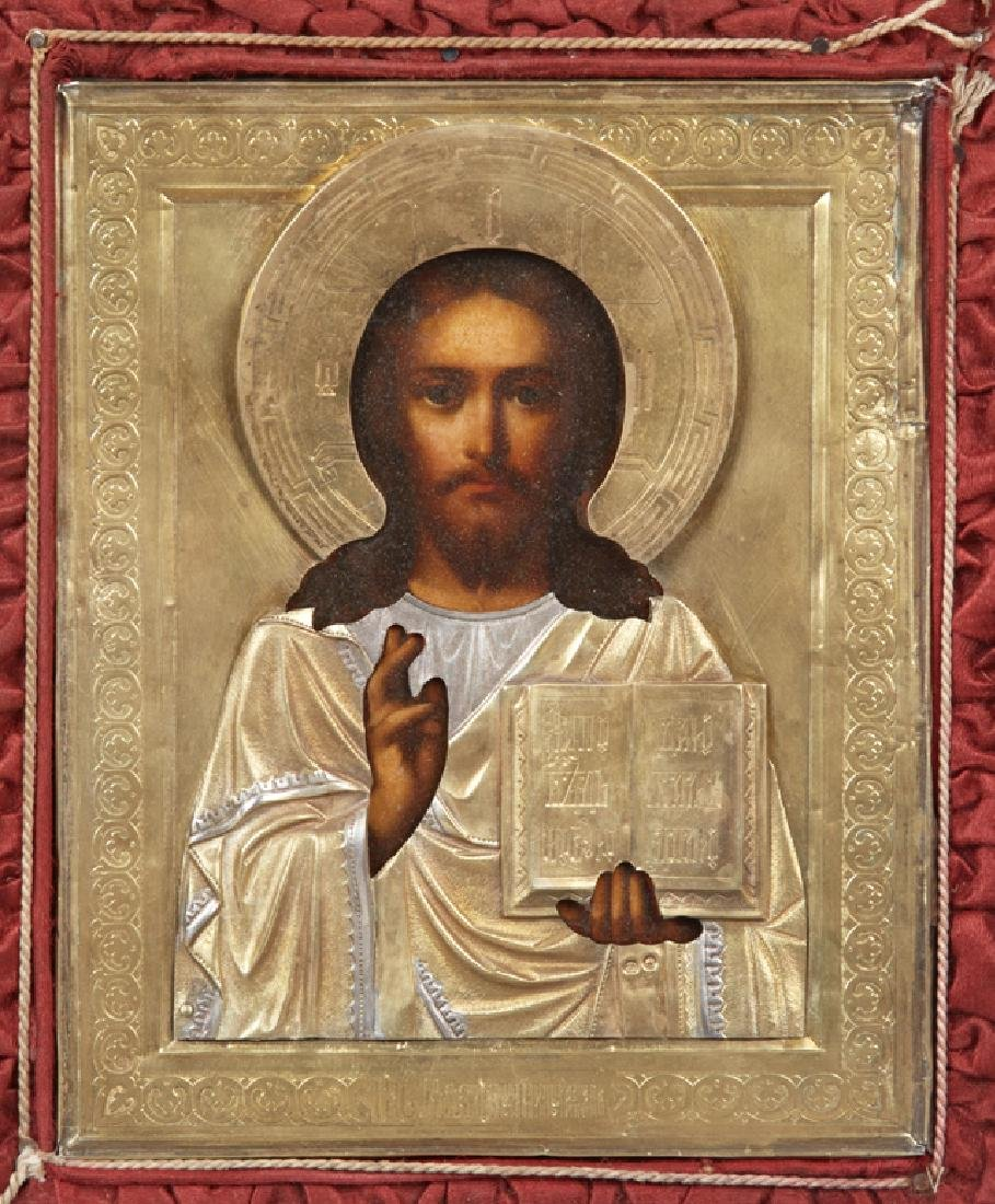 Russian Icon of Christ Pantocrator, late 19th c., - 2