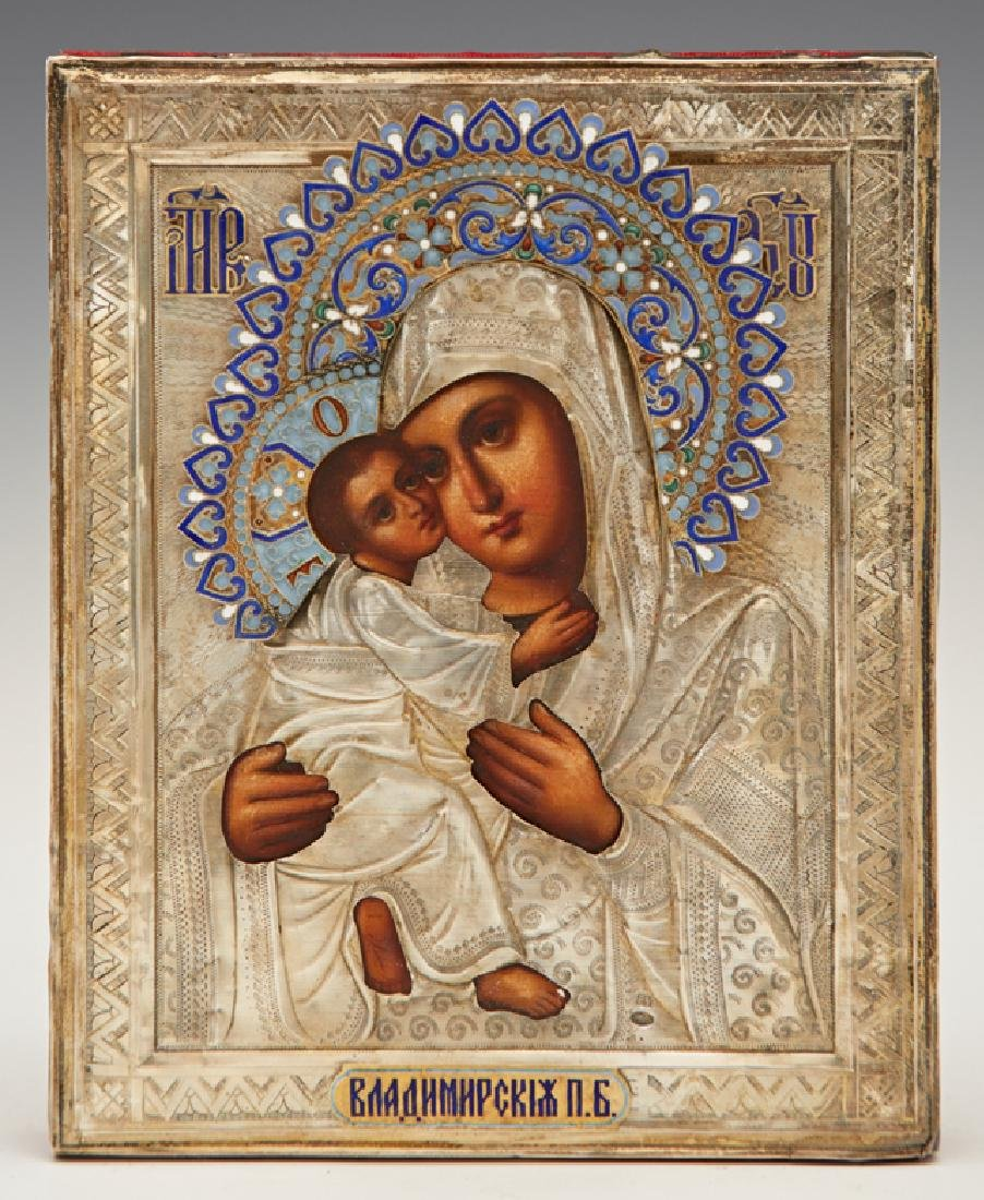 Russian Icon of the Virgin of Vladimir, late 19th c.,