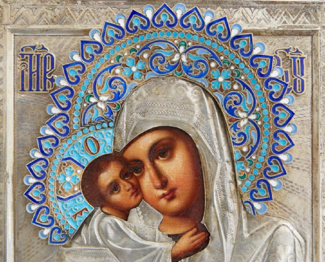 Russian Icon of the Virgin of Vladimir, late 19th c., - 4
