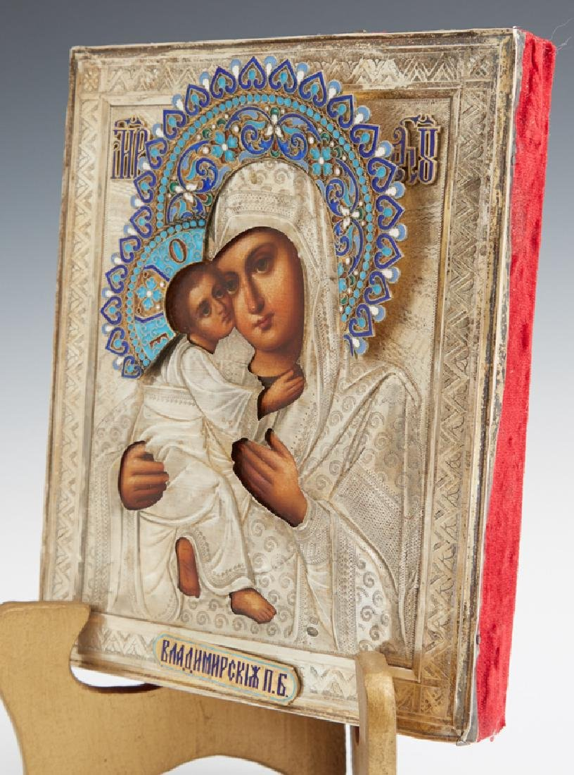 Russian Icon of the Virgin of Vladimir, late 19th c., - 5