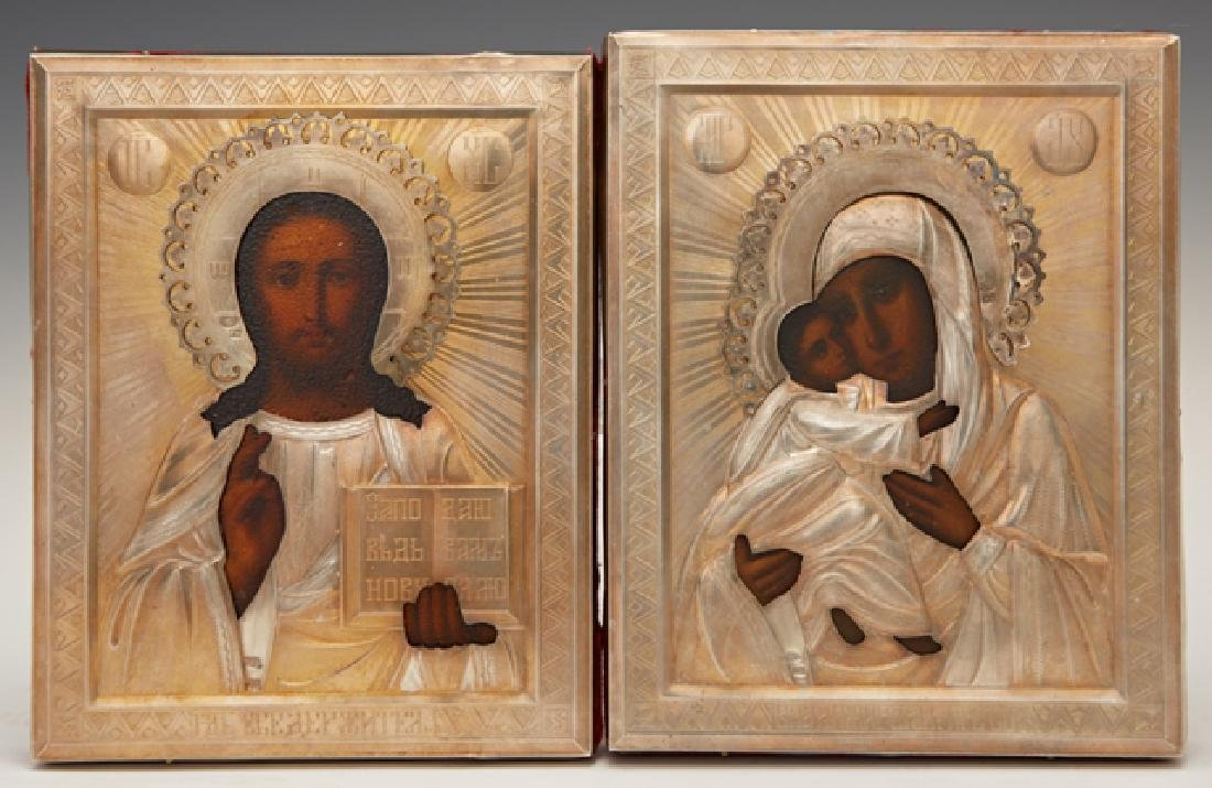Pair of Russian Wedding Icons, late 19th c., of the