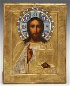 Russian Icon of Christ Pantocrator 19th c with an