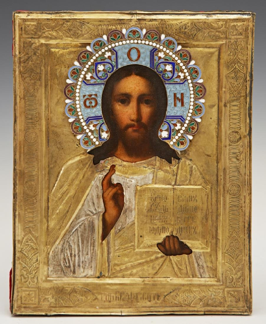 Russian Icon of Christ Pantocrator, 19th c., with an
