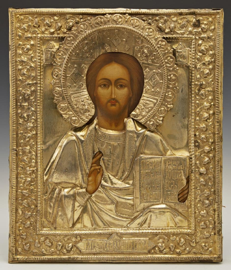 Russian Icon of Christ Pantocrator, 19th c., with a