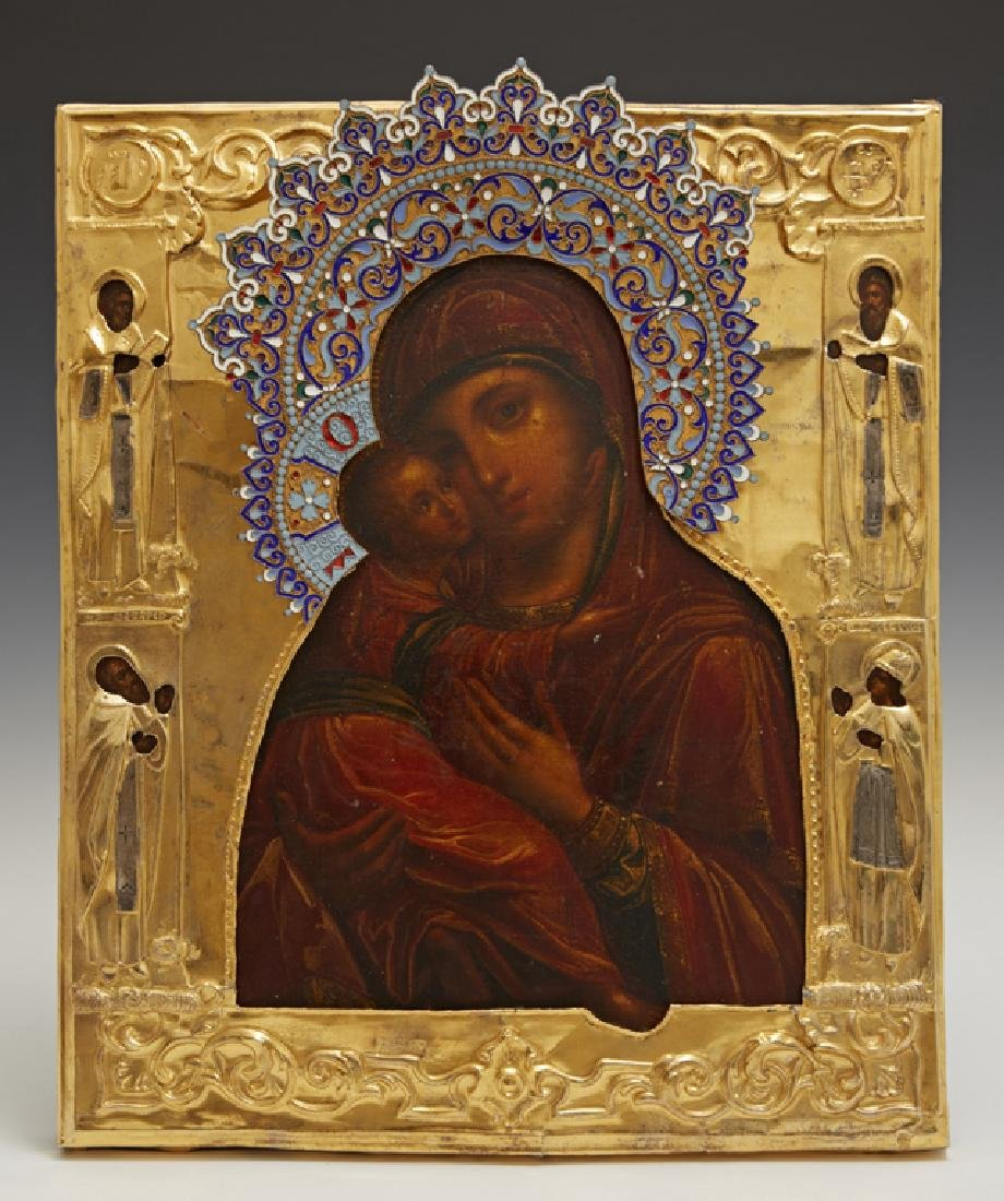 Russian Icon of the Virgin of Vladimir, Moscow, 1855,