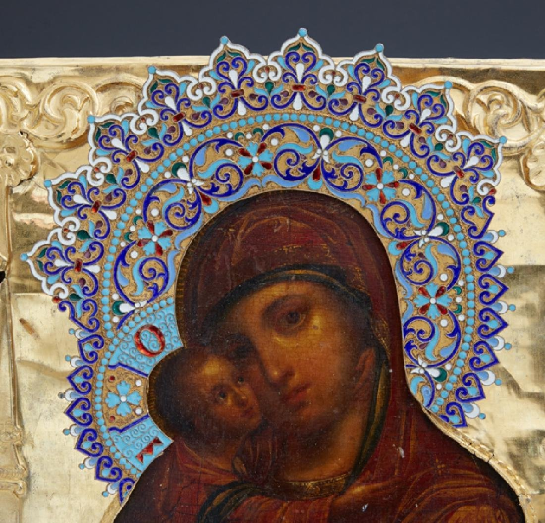 Russian Icon of the Virgin of Vladimir, Moscow, 1855, - 2