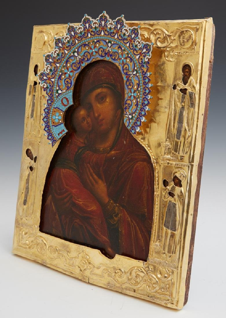 Russian Icon of the Virgin of Vladimir, Moscow, 1855, - 7