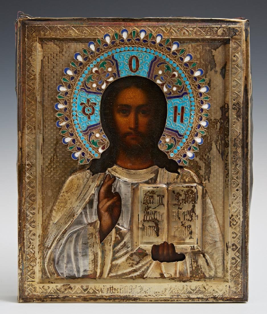 Russian Icon of Christ Pantocrator, late 19th c., with