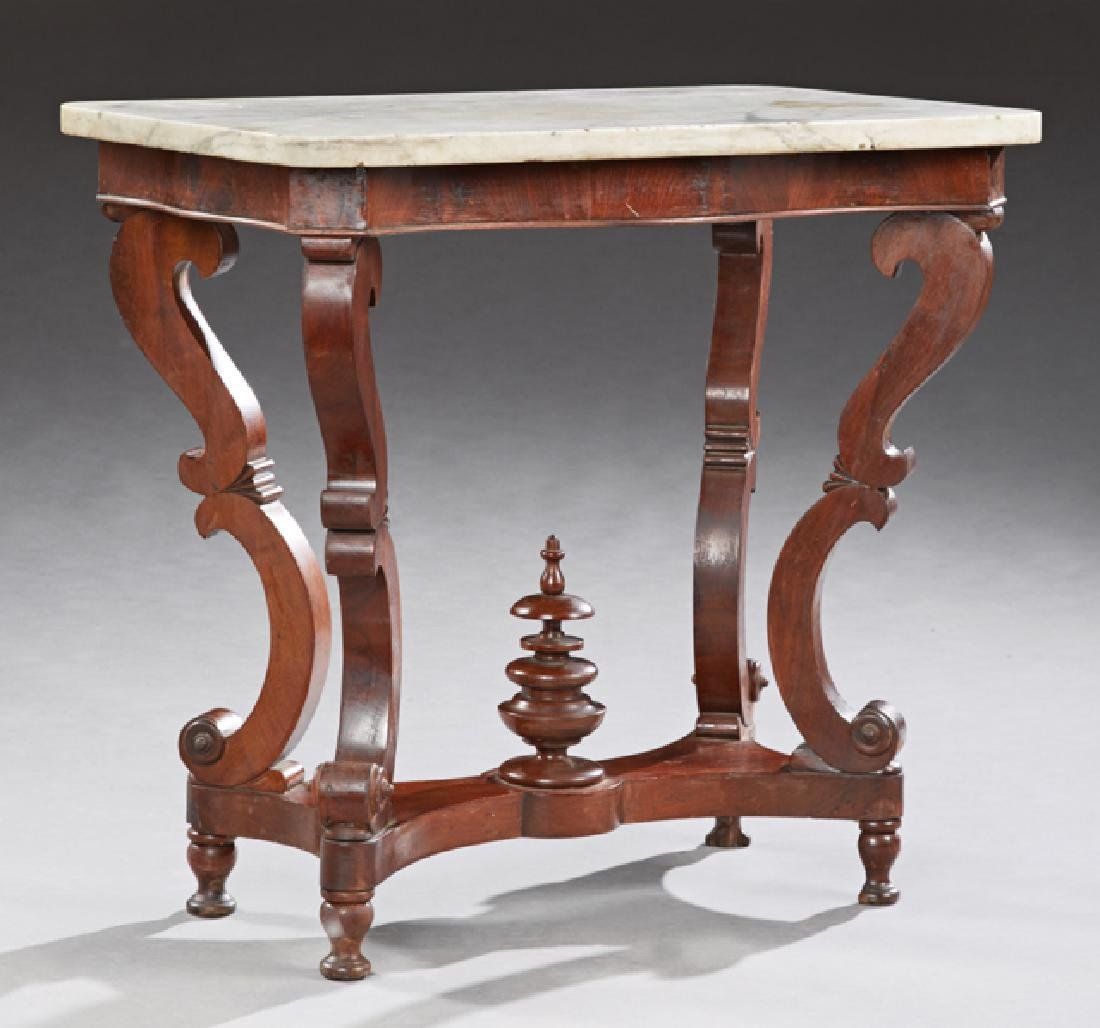 American Carved Walnut Marble Top Side Table, 19th c.,