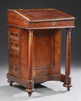 English Victorian Carved Rosewood Davenport Desk, 19th
