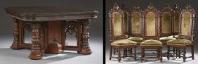 American Nine Piece Carved Oak Gothic Style Dining Room
