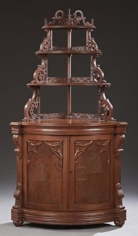 American Carved Walnut Gothic Revival Corner Cabinet