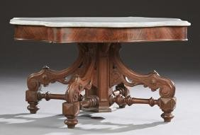 American Carved Walnut Marble Top Center Table, 19th