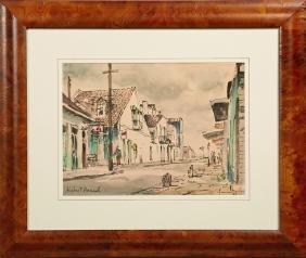"""Hubert Hanush (New Orleans), """"French Quarter Street"""