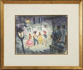 """Aronsohn, """"Dancing in the French Quarter, 20th c., ink"""