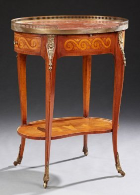 French Ormolu Mounted Marquetry Inlaid Mahogany Oval