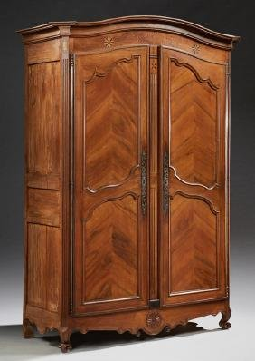 French Louis XV Style Carved Inlaid Walnut Armoire,