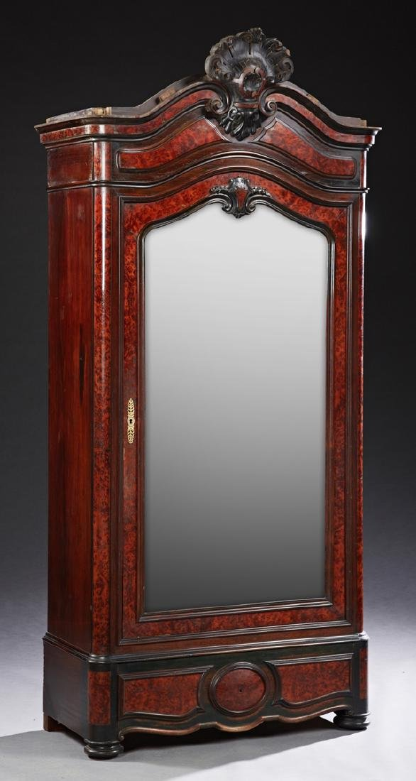 French Carved Walnut Bonnetiere, c. 1880, the arched