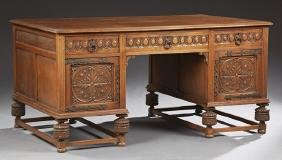 English Carved Oak Jacobean Style Desk, early 20th c.,