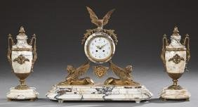 French Gilt Spelter and Creme Marble Three Piece Clock