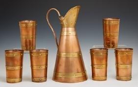 Seven Piece Mexican Brass Bound Copper Drink Set, 20th