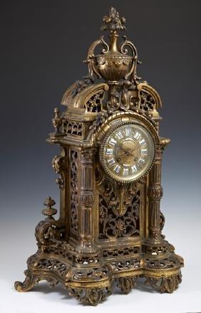 French Gilt Bronze Louis XVI Style Cartel Clock, late