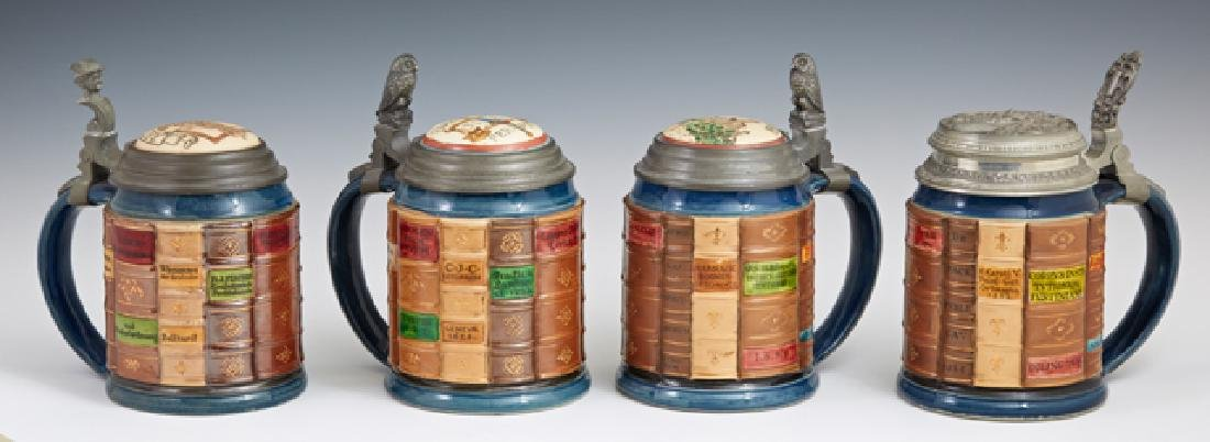 "Group of Four Mettlach ""Book"" Steins, late 19th c., #20"
